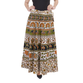 Craftsvilla White Color Jaipuri Bagru Print Wrap Around Cotton Skirt