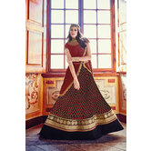 Craftsvilla Maroon Color Georgette Embroidered Frock Style Semi-stitched Anarkali