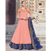 Craftsvilla Peach Georgette Embroidered Semi Stitched Anarkali Suit