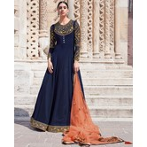 Craftsvilla Navy Georgette Embroidered Semi Stitched Anarkali Suit