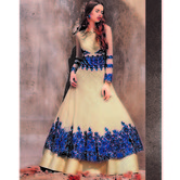 Craftsvilla Cream Net Embroidered Semi-stitched Anarkali Suit