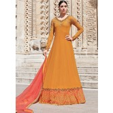 Craftsvilla Mustard Georgette Embroidered Semi Stitched Anarkali Suit