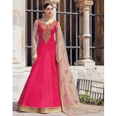 Craftsvilla Pink Georgette Embroidered Semi Stitched Anarkali Suit
