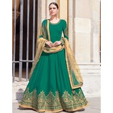 Craftsvilla Green Georgette Embroidered Semi Stitched Anarkali Suit
