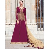 Craftsvilla Maroon Georgette Embroidered Semi Stitched Anarkali Suit