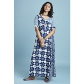 Blue Rayon Printed Ankle Length A Line Style Kurti Dress