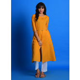 Craftsvilla Yellow Cotton Tagai Printed A Line Style Kurta With Pant Set