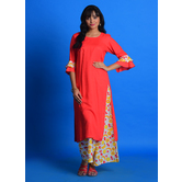 Craftsvilla Red Cotton Blend Embroidered A Line Style Kurta With Palazzo Set