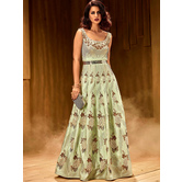 Sutva Embellished Magic Mint  Brezza Satin Stitched Embroidered Designer Partywear Gown