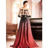 Sutva Net And Satin Red And Black Color Embellished Round Neck Floor Length Designer Stitched Gowns