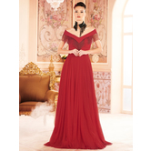 Sutva Net And Georgette Red Color Embroidered Off Shoulder Floor Length Designer Stitched Gowns