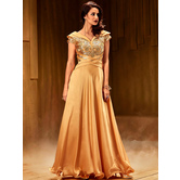 Sutva Criss Cross Golden Sea Net Fabric  Stitched Embroidered Designer Partywear Gown