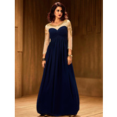 Sutva Flared Navy Blue Color Net Fabric Stitched Embroidered Designer Partywear Gown