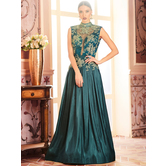 Sutva Net And Satin Arctic Embroidered Folded Floor Length Designer Stitched Gowns