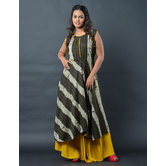 Sutva Yellow Color Nylon  Printed Readymade Gown