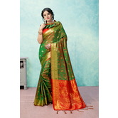 Craftsvilla Green Banarasi Silk Woven Partywear Saree With Unstitched Blouse Material