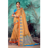 Craftsvilla Beige Chanderi Woven Partywear Saree With Unstitched Blouse Material