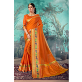 Craftsvilla Orange Chanderi Woven Partywear Saree With Unstitched Blouse Material