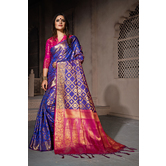 Craftsvilla Blue Art Silk Woven Partywear Saree With Unstitched Blouse Material