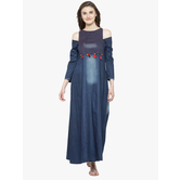 Sutva Blue Denim Kurta With Designer Neck And Long Gown