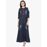 Sutva Blue Denim Kurta With Collar Designer Neck And Long Gown