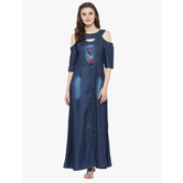 Sutva Dark Blue Cotton Denim Readymade Indowestern Party Wear Gown