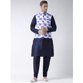 Craftsvilla Blue Color Dupion Silk Kurta Payjama With Waist Coat