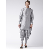 Craftsvilla Grey Color Dupion Silk Solid Chinese Collar Neck Full Sleeves Readymade Kurta With Harem Pant