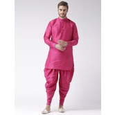 Craftsvilla Pink Color Dupion Silk Solid Chinese Collar Neck Full Sleeves Readymade Kurta With Harem Pant