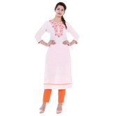 Anuswara Off White Color Cotton Embroidered Knee Length Straight Kurti
