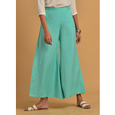 Sky Blue Rayon Solid Flared Palazzo