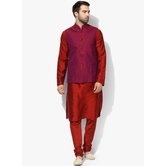 Craftsvilla Red Color Silk Blend Plain Chinese Collar Neck Kurta Pyjamas
