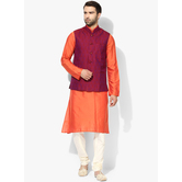 Craftsvilla Orange Color Silk Blend Plain Chinese Collar Neck Kurta Pyjamas