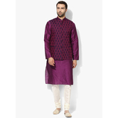Craftsvilla Purple Color Silk Blend Plain Chinese Collar Neck Kurta Pyjamas