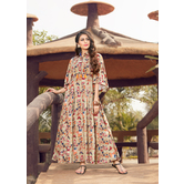 Craftsvill Beige Color Bell Sleeves Printed Rayon Gown