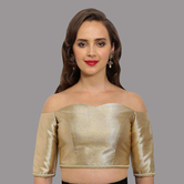 Craftsvilla Gold-beige Polyester Sweetheart Neck Readymade  Blouse