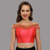 Craftsvilla Coral Polysilk Fashion Neck Readymade  Blouse