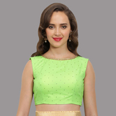 Craftsvilla Neon Green Embelished Net Round Neck Readymade  Blouse