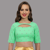Craftsvilla Sea Green Embelished Net Round Neck Readymade  Blouse