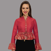 Craftsvilla Red Polysilk V-neck Readymade Blouse