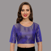 Craftsvilla Blue Brocade  Round Neck Readymade Blouse With Triangle Latkan Back