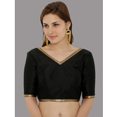 Craftsvilla Elbow Length Sleeve Dupion Blouse With Lace