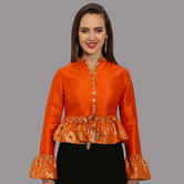 Craftsvilla Orange Polysilk V-neck Readymade Blouse