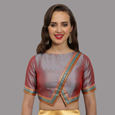 Craftsvilla Dhoop Chao Triangle Cut Bottom Hem Round Neck Readymade Blouse