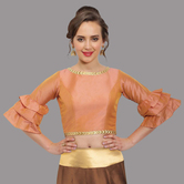 Craftsvilla Peach Polysilk Round Neck Readymade  Blouse