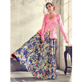 Craftsvilla Pink Color Jacquard Graphic Printed Designer Semi-stitched Lehenga Choli