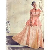 Craftsvilla Peach Color Jacquard Graphic Printed Designer Semi-stitched Lehenga Choli