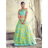Craftsvilla Turquoise Color Jacquard Graphic Printed Designer Semi-stitched Lehenga Choli