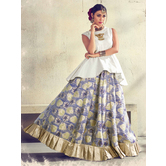 Craftsvilla Blue Color Jacquard Graphic Printed Designer Semi-stitched Lehenga Choli