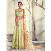 Craftsvilla Beige Color Jacquard Graphic Printed Designer Semi-stitched Lehenga Choli